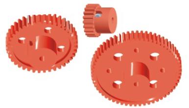 Zahnrad mit Bund, fest oder lose auf Achse - 60 Zähne mit Bund, Durchmesser 60 mm